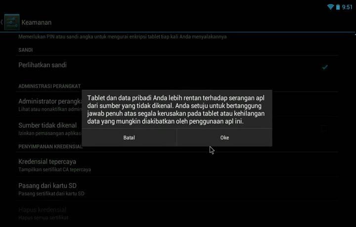 Konfirmasi perubahan konfigurasi